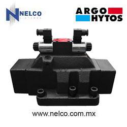 Válvula hidráulica direccional operada por doble bobina regreso por resorte tamaño CETOP 8 marca Argo-Hytos