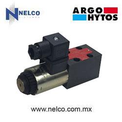Válvula hidráulica direccional operada por una bobina regreso por resorte tamaño CETOP 2 marca Argo-Hytos