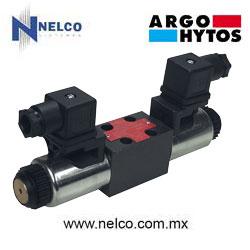 Válvula hidráulica direccional operada por doble bobina regreso por resorte tamaño CETOP 2 marca Argo-Hytos