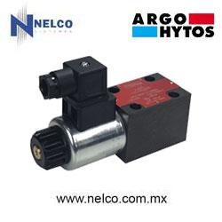 Válvula hidráulica direccional operada por una bobina regreso por resorte tamaño CETOP 3 marca Argo-Hytos