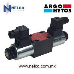Válvula hidráulica direccional operada por doble bobina regreso por resorte tamaño CETOP 3 marca Argo-Hytos