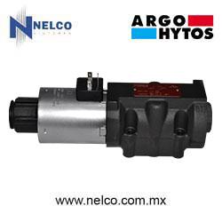 Válvula hidráulica direccional operada por una bobina regreso por resorte tamaño CETOP 5 marca Argo-Hytos