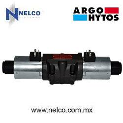 Válvula hidráulica direccional operada por doble bobina regreso por resorte tamaño CETOP 5 marca Argo-Hytos