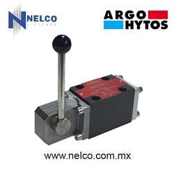 Válvula hidráulica direccional operada manualmente por palanca regreso por resorte tamaño CETOP 3 marca Argo-Hytos