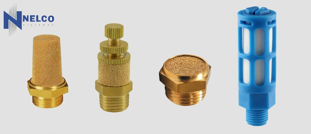 silenciadores neumaticos bronce plastico polimero